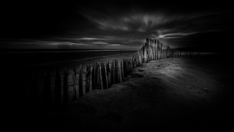 Katwijk strand zwart-wit
